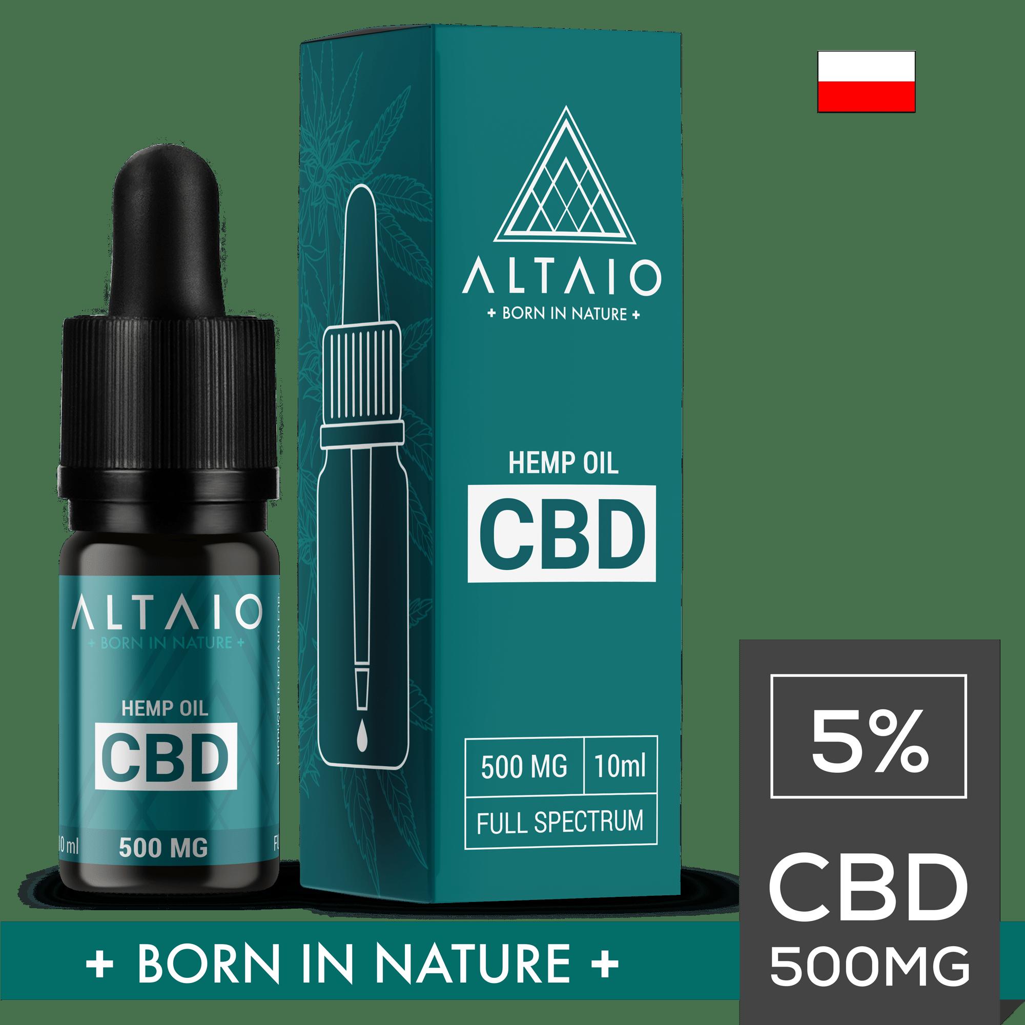 ALTAIO olejek konopny CBD 500 mg 10 ml