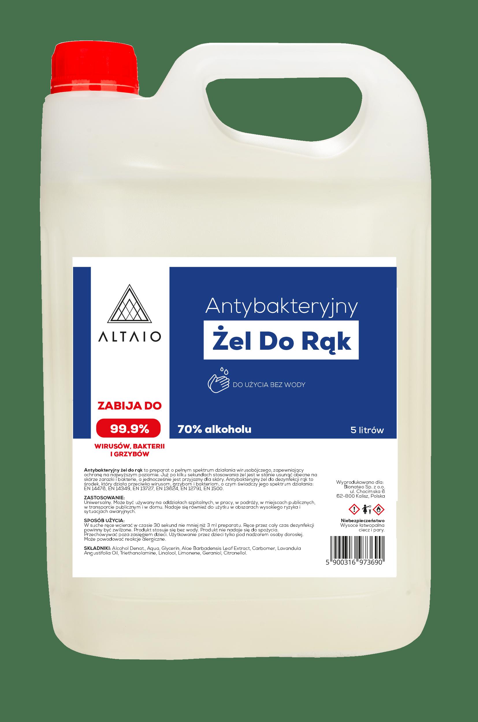 ALTAIO Antybakteryjny żel do rąk 5L