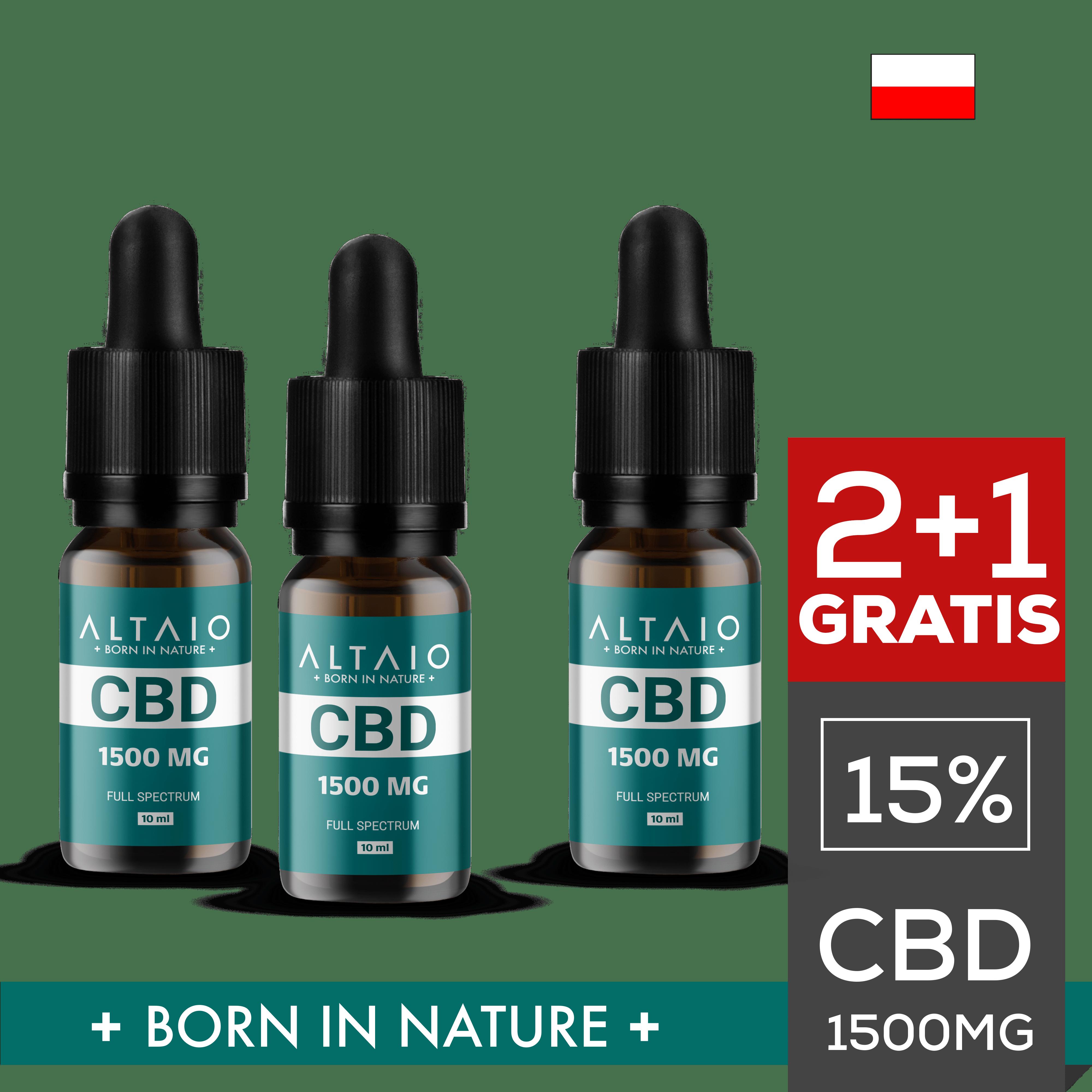 ZESTAW 2+1 GRATIS ALTAIO olejek konopny CBD 1500 mg 10 ml